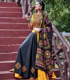 Black Embroidered Cotton Indian Traditional Navratri Dandiya Raas Garba Festival Function Semi Stitched Lehenga Choli