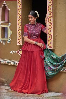maroon embroidered silk blend semi stitched lehenga choli