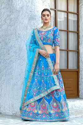 blue embroidered velvet semi stitched lehenga choli