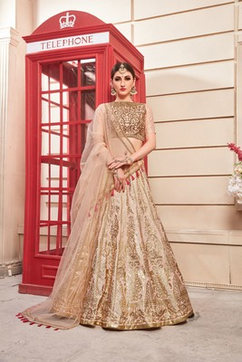 pink embroidered silk blend semi stitched lehenga choli