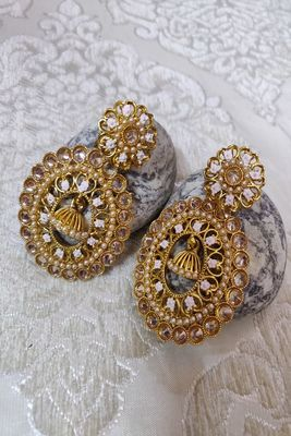 Gold Crystal Stone Earrings