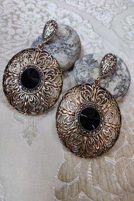 Black Crystal Stone Earrings