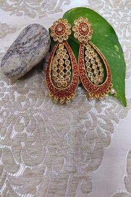Red Crystal Stone Earrings