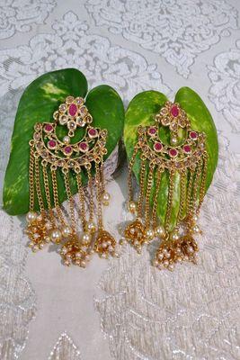 Gold Crystal Stone Earrings