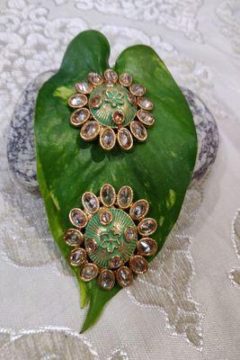 Green Crystal Stone Earrings