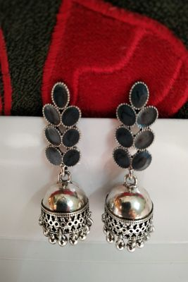 Black Crystal Stone Earrings