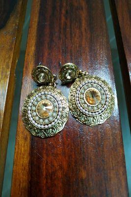 Silver Crystal Stone hoops