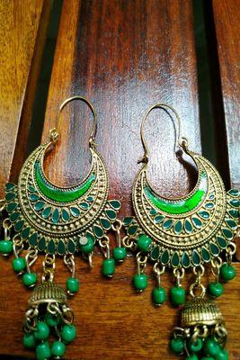 Green Crystal Stone Jhumkas