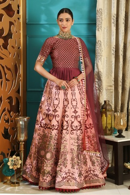 peach embroidered silk blend semi stitched lehenga choli
