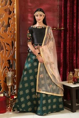 green embroidered jacquard semi stitched lehenga choli