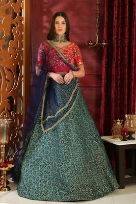 Turquoise Embroidered Jacquard Semi Stitched Lehenga Choli