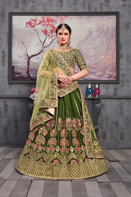 Green Embroidered Silk Blend Semi Stitched Lehenga Choli