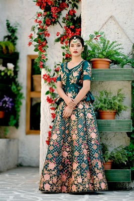 turquoise embroidered satin semi stitched lehenga choli