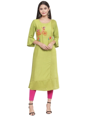 Green embroidered rayon ethnic-kurtis