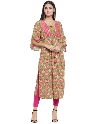 Olive embroidered rayon ethnic-kurtis