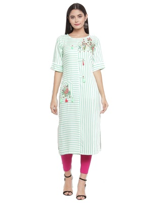 Off-white embroidered rayon ethnic-kurtis