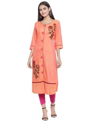 Orange embroidered rayon ethnic-kurtis