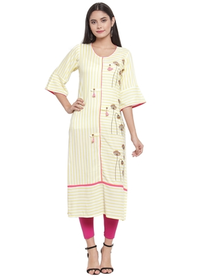 Off-white embroidered rayon ethnic-kurtis