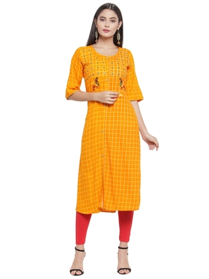 Mustard embroidered rayon ethnic-kurtis
