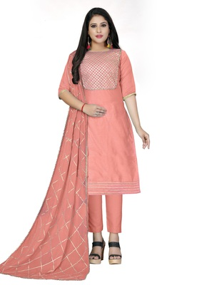 Peach gotta patti chanderi salwar