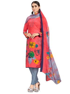 Red printed crepe salwar