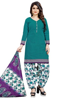 Turquoise printed poly cotton salwar