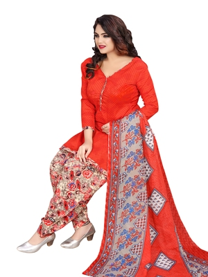 Red Printed Poly Cotton Salwar