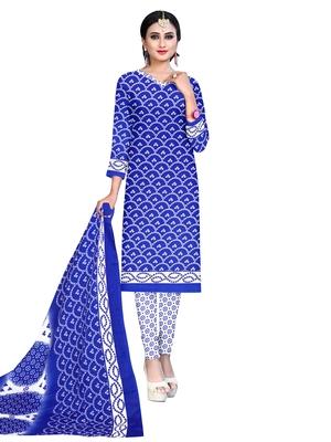 Blue Printed Poly Cotton Salwar