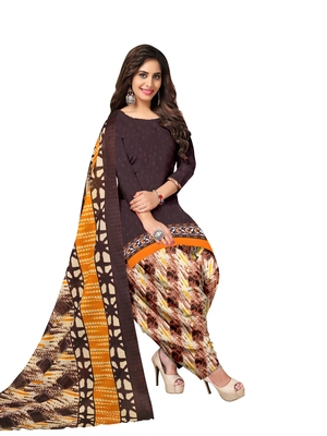 Coffee printed poly cotton salwar