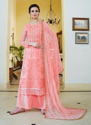 pink embroidered organza semi stitched salwar with dupatta