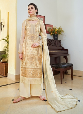 cream embroidered organza semi stitched salwar with dupatta
