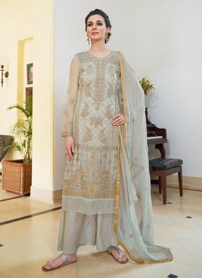 Grey embroidered organza semi stitched salwar with dupatta