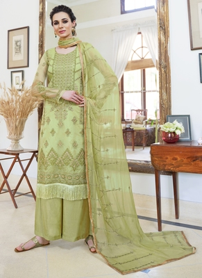 green embroidered organza semi stitched salwar with dupatta