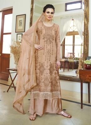beige embroidered organza semi stitched salwar with dupatta