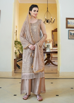 brown embroidered organza semi stitched salwar with dupatta