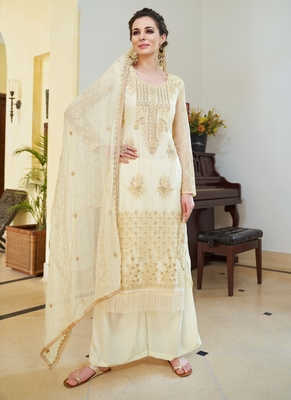 off white embroidered organza semi stitched salwar with dupatta