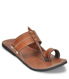 Brown Kolhapuri Synthetic leather Sandals for Men, Indian Handmade ethnic Flip flops