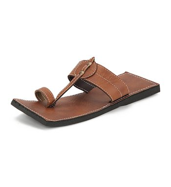 Men'S Brown Synthetic Leather  Sandals, Indian Handmade Summer Shoes, Gift For Him