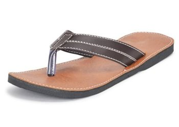 Brown synthetic leather flip flops for Men