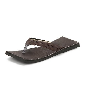Handmade Dark Brown Synthetic Leather Slippers For Men