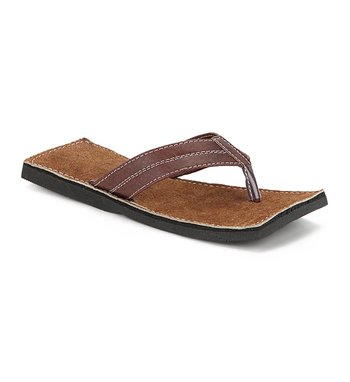 Brown suede leather flat casual sandals for Men