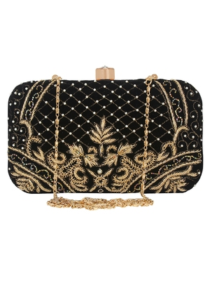 Black & Gold Adorn Embroidered & Embelished Velvet Fabric Clutch