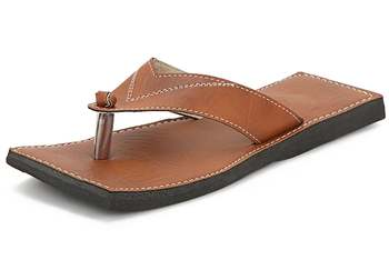 Men's brown synthetic leather casual flip flops sandals