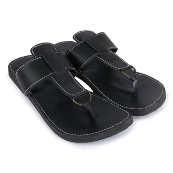 Indian Handmade synthetic leather black sandals for men, Summer flat shoes