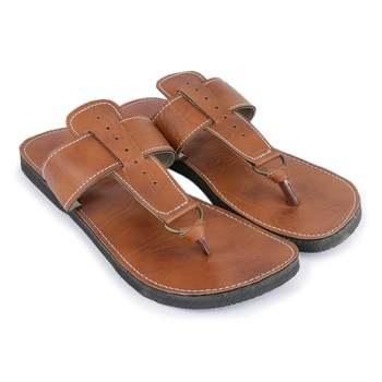 Brown handmade synthetic leather sandals for men, festival boho sandals