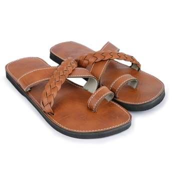 Handcrafted elegant Indian synthetic leather sandals for men, Summer slides brown flip flops