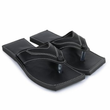 Men'S Synthetic Leather Black Flip Flops