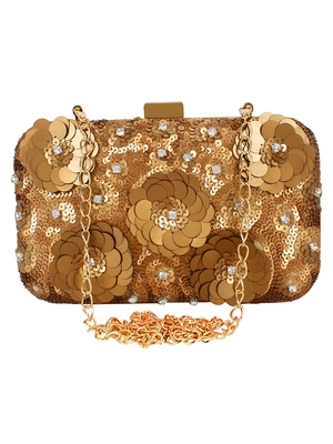Gold & Copper Adorn Sequines Embelished Faux Silk Fabric Clutch