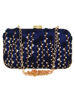 Navy Blue Adorn Embroidered & Embelished Faux Silk Fabric Clutch
