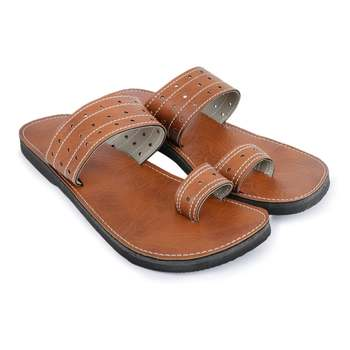 Synthetic Leather Brown Slides Sandals, Made From India